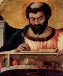 Luke, the Evangelist, detail of altarpiece, 1453; Artist:  Andrea Mantegna, 1431-1506