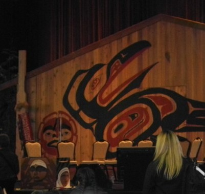 The Bentwood Box into which artifacts and writings are offered as part of the permanent record of the TRC can be seen at the front on the left.