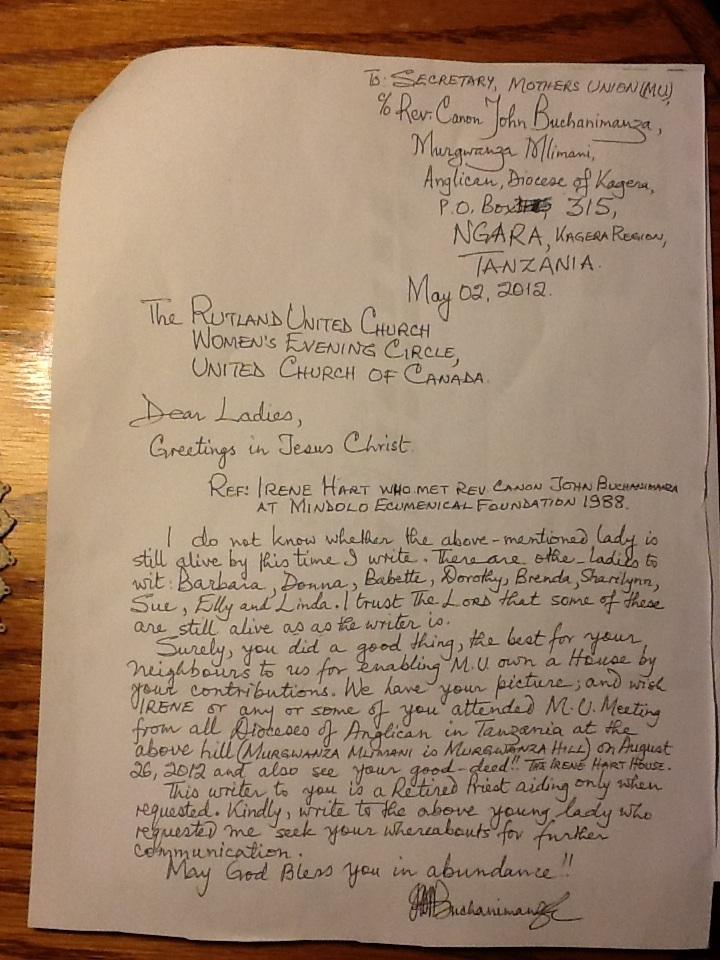 Rutland UC's Tanzania letter