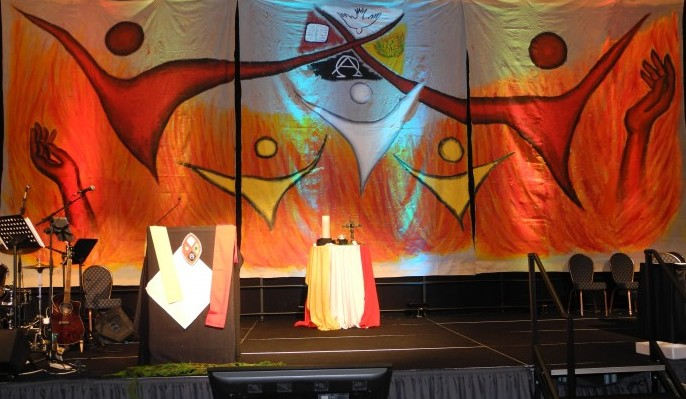 Backdrop for the stage was designed and created by Maia Walker of Kamloops.