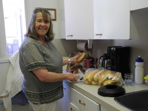 Susan getting the buns ready