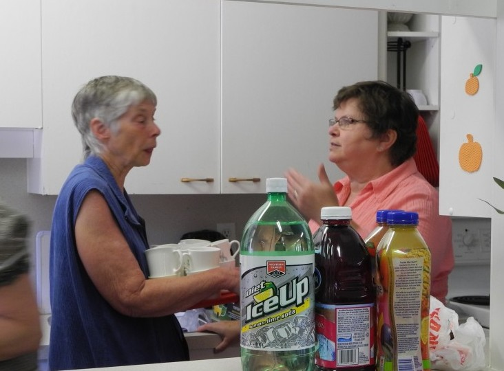 Joanne and Mary setting up for the picnic