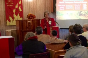 Norma Fraser, Chair of Presbytery, giving the appreciations prior to worship.