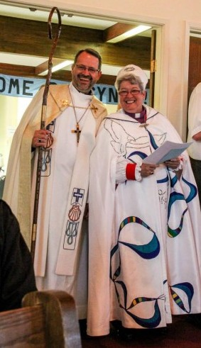 BC Synod Bishop Greg Mohr and Bishop Barbara Andrews, Bishop of the Anglican Parishes of the Central Interior at the opening worship
