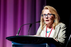 Dr. Marie Wilson, Commissioner of the Truth and Reconciliation Commission, addresses the 2015 National Convention of the ELCIC.
