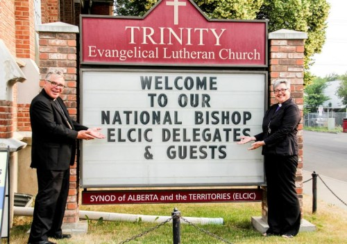 The welcome sign for the closing worship of the 2015 National Convention.