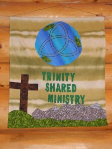 Our new identifying banner is hung for the first time on September 24, 2015 when Clearwater United Church became Trinity Shared Ministry.