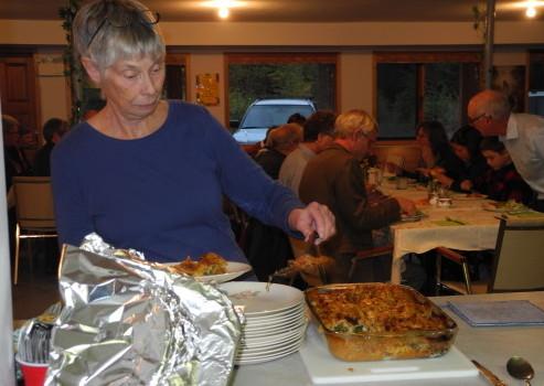 Joanne dishing up her dinner