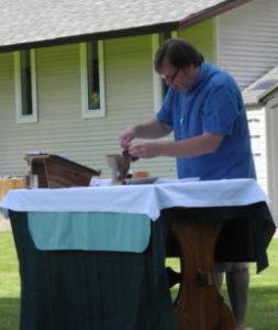 Preparing for the Eucharist.