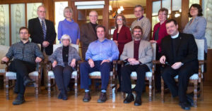 Members of the Anglican-United Church Dialogue. Back row (L-R): Donald Koots, Brenda Simpson, Gordon Jensen, Sandra Beardsall, Michael Oulton, Elisabeth Jones, Lynne McNaughton. Front row: Stephen Silverthorne, Gail Allan, Andrew O'Neill, William Harrison, Bruce Myers. Submitted photo to the Anglican Church of Canada website.