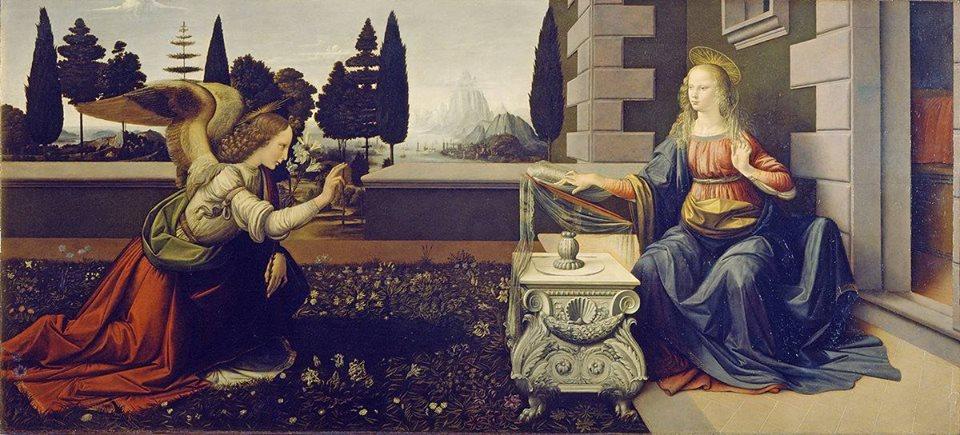 """""""Annunciazione"""" by Leonard da Vinci, c 1472."""